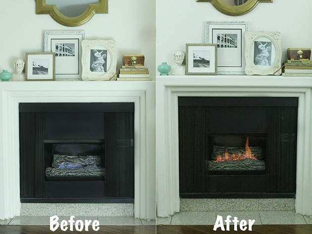 how to make a gas fireplace more like a wood burning one. Black Bedroom Furniture Sets. Home Design Ideas