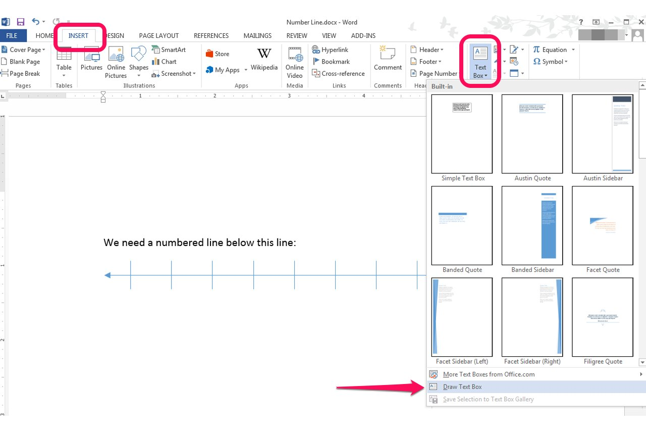 Drawing Lines With Microsoft Word : How do i create a number line in microsoft word ehow