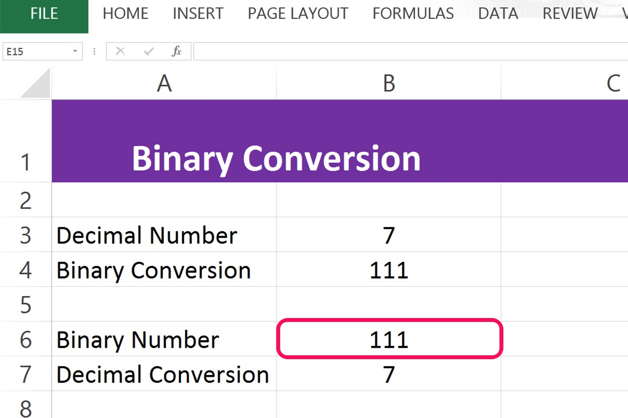 Convert binary to decimal using excel